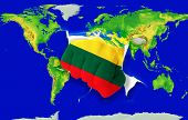 Fist In Color  National Flag Of Lithuania    Punching World Map
