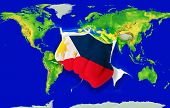 Fist In Color  National Flag Of Philippines    Punching World Map