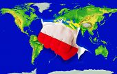 Fist In Color  National Flag Of Poland    Punching World Map