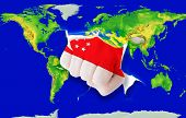 Fist In Color  National Flag Of Singapore    Punching World Map