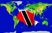 Fist In Color  National Flag Of Trinidad Tobago    Punching World Map