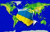 Fist In Color  National Flag Of Ukraine    Punching World Map