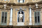 Quattro Canti, Baroque Houses in Palermo. Sicily, Italy