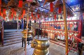Interior of Man Mo Temple in Hong Kong, China.