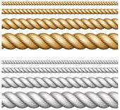 stock photo of node  - Set of different thickness ropes isolated on white vector illustration - JPG