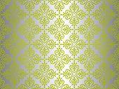 Green  & Silver Vintage Wallpaper Background Design