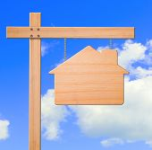 Real Estate Sign Sky Background.