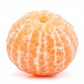 image of mandarin orange  - Peeled tangerine or mandarin fruit isolated on white background cutout - JPG