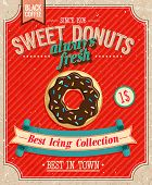 stock photo of donut  - Vintage Donuts Poster - JPG