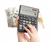Calculator In Woman Hands, Money Background