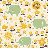 Cute seamless pattern with elephants and yellow flowers. Spring floral vector background can be used
