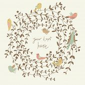 Stylish floral card in vector. Spring wallpaper with cute birds. Ideal for wedding invitation. Save