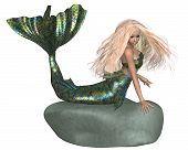 Green and Blue Mermaid on a Rock