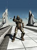 foto of trooper  - Futuristic space marine trooper guarding a bridge - JPG