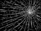 Grietas radiales sobre vidrios rotos.