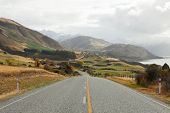 Scenic Road  along Lake Hawea, NZ