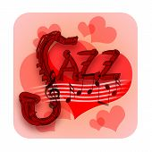 foto of jive  - Jazz music abstract illustration with musical notes and love hearts - JPG