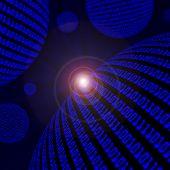 Spheres Of Blue Binary Code