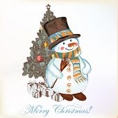 Christmas Greeting Card With Snowman And Christmas Tree