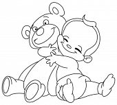 picture of baby bear  - Outlined Cheerful baby hugging his teddy bear - JPG