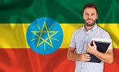 Male Student Of Languages ??on Ethiopian Flag
