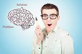 picture of maze  - Creative businessman drawing upon a creative idea inside a brain illustration maze - JPG