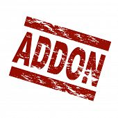 Stylized red stamp showing the term addon. All on white background.