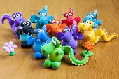 Multicolored Handmade Modelling Clay Dragons