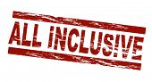 pic of all-inclusive  - Stylized red stamp showing the term all inclusive - JPG