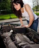 Attractive young womans car broke down.