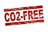Stylized red stamp showing the term CO2-free. All on white background.