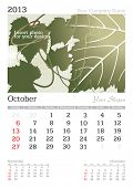 October 2013 A3 calendar - vector illustration
