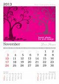 November 2013 A3 calendar - vector illustration