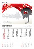 September 2013 A3 calendar - vector illustration