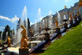 famous petergof park with fountains in Saint Petersburg Russia