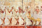 stock photo of hatshepsut  - ancient egypt images and hieroglyphics in temple of Hatshepsut - JPG
