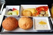 lunch in airplane - seafood meal