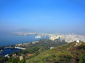 landscape with lake and palaces in Udaipur India