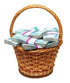 overflowing basket with money - millions of russian roubles