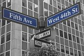 Street Signs For Fifth Avenue And West 44Nd Street