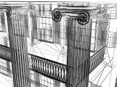 abstract wire bilding with columns
