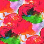 abstract avant-garde orange, green seamless wallpaper watercolor