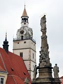 Church and Plague Column, City Ivancice, Czech Republic, Europe