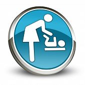 image of diaper change  - Icon Button Pictogram with Baby Change symbol - JPG