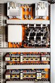 foto of rectifier  - Electrical panel at a assembly line factory - JPG