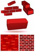 stock photo of mortar-joint  - Vector illustration set of three dimensional bricks and brick wall - JPG