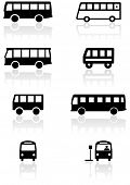 Vector set of different bus or van symbols. All vector objects are isolated. Colors and transparent