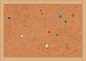 Vector illustration of a blank cork notice board with thumbtacks. All objects are isolated. Colors a