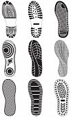 Vector illustration set of footprints. All vector objects are isolated and grouped. Colors and trans