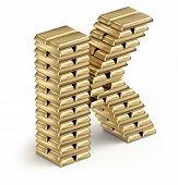 Letter K from gold bars